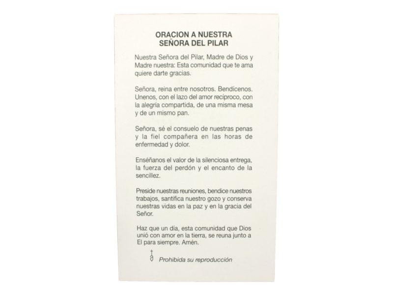 Estampita Virgen del Pilar oracion