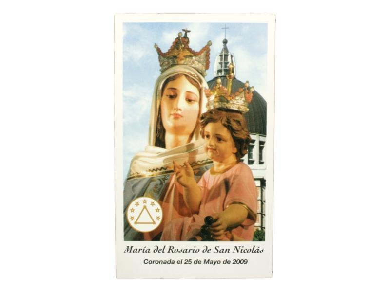 Estampita Virgen Maria del Rosario de San Nicolas frente