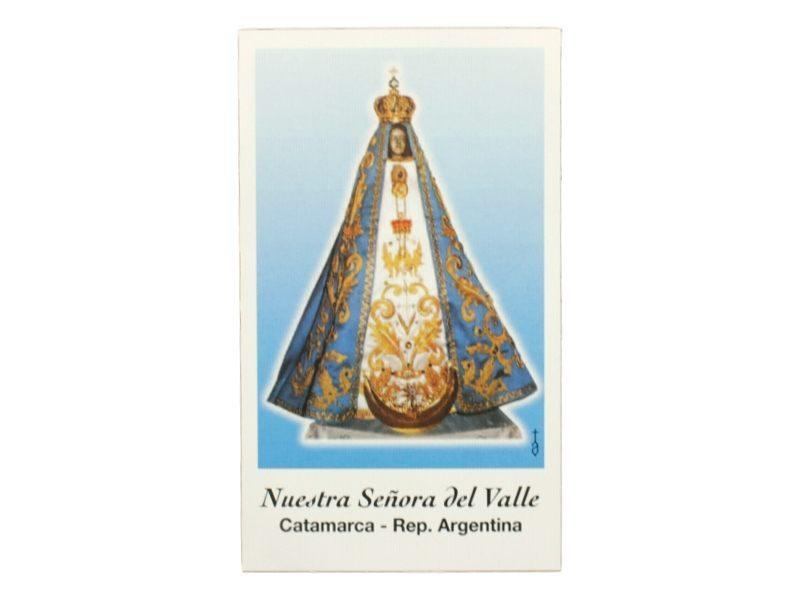 Estampita Nuestra Señora del Valle de frente