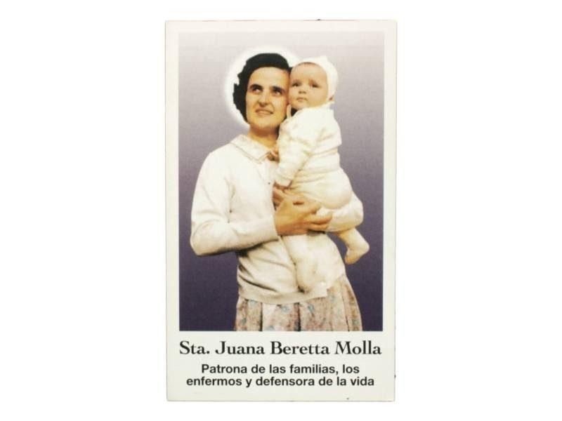 Estampita Santa Juana Beretta Molla frente