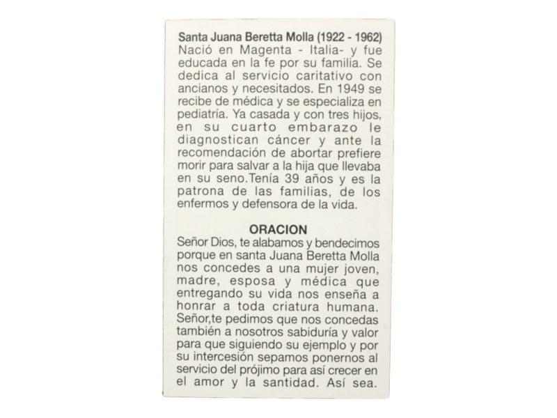 Estampita Santa Juana Beretta Molla oracion