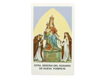 Estampita Virgen Nuestra Señora del Rosario de Nueva Pompeya frente