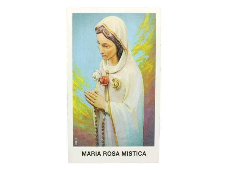 Estampita Virgen Maria Rosa Mistica frente