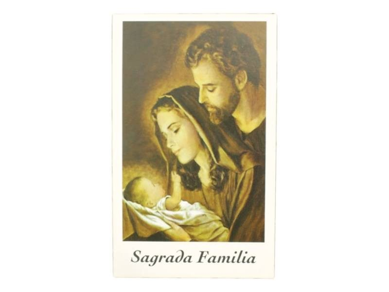 Estampita Sagrada Familia Un Hogar Feliz frente