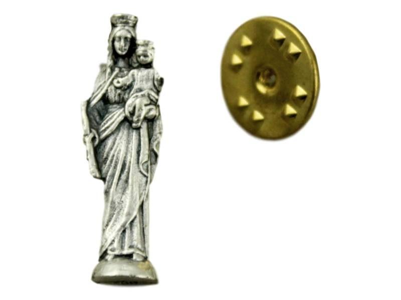 Pin_prendedor_plateado_Virgen_Maria_Auxiliadora