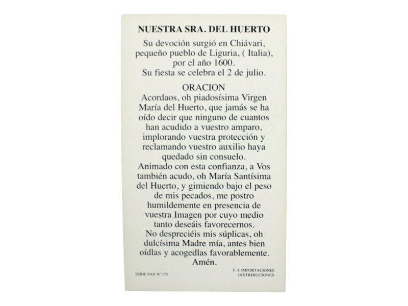 Estampita_santoral_Nuestra_Señora_del_Huerto_-_oracion