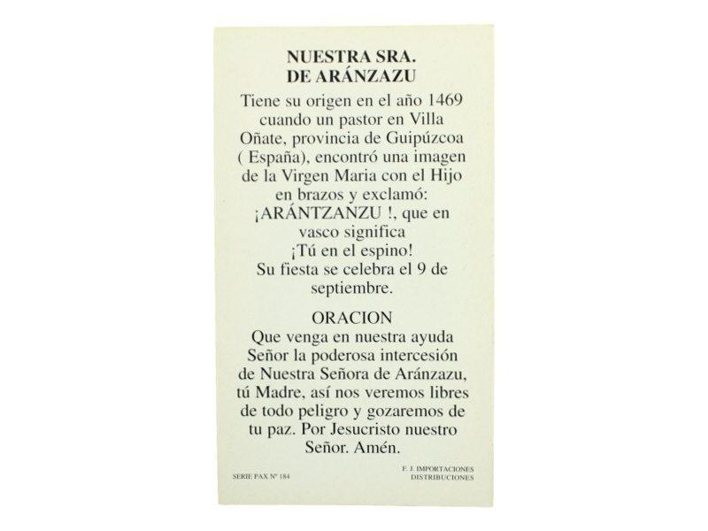 Estampita_santoral_Nuestra_Señora_de_Aranzazu_-_oracion