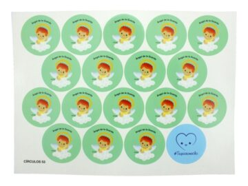 Plancha_18_stickers_Angel_de_la_Guarda_infantil_-_Verde