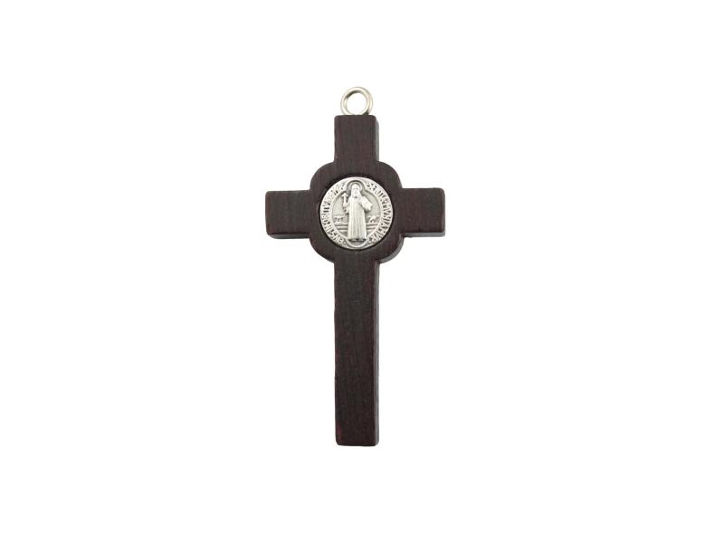 Cruz Madera y Metal con Cristo y medalla San Benito 60x30mm - dorso
