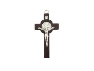 Cruz Madera y Metal con Cristo y medalla San Benito 60x30mm - frente