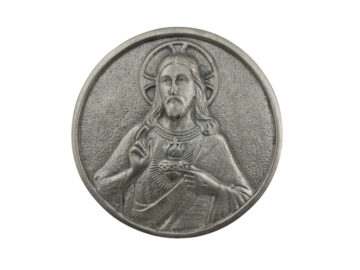 Medallon Fundicion Sagrado Corazon de Jesus 10cm - frente