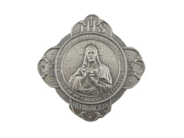 Medallon Fundicion Sagrado Corazon de Jesus en cruz 8x8cm - frente