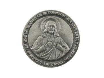 Medallon Fundicion Sagrado Corazon de Jesus 8cm - frente