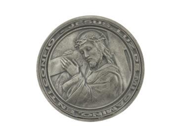 Medallon Fundicion Cristo con su cruz 8cm - frente