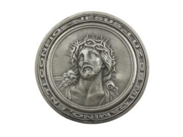 Medallon Fundicion Rostro de Cristo 8cm - frente