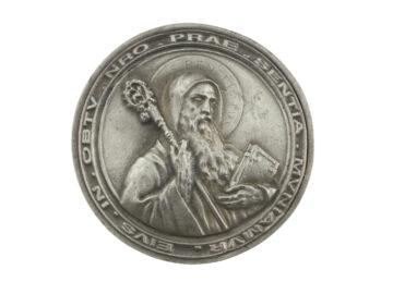 Medallon Fundicion San Benito 8cm - frente