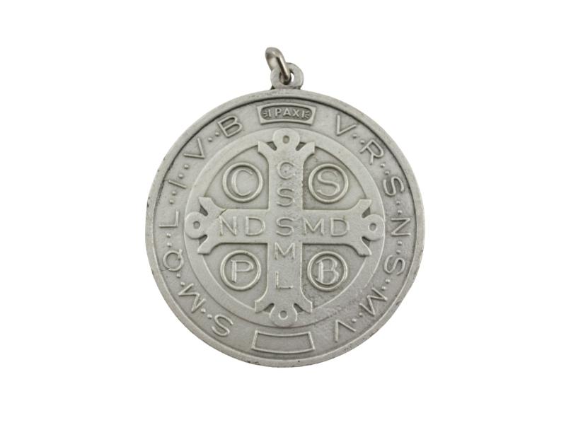 Medallon Fundicion San Benito 6cm - dorso