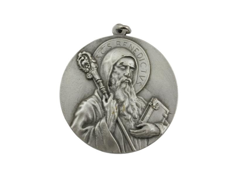 Medallon Fundicion San Benito 6cm - frente