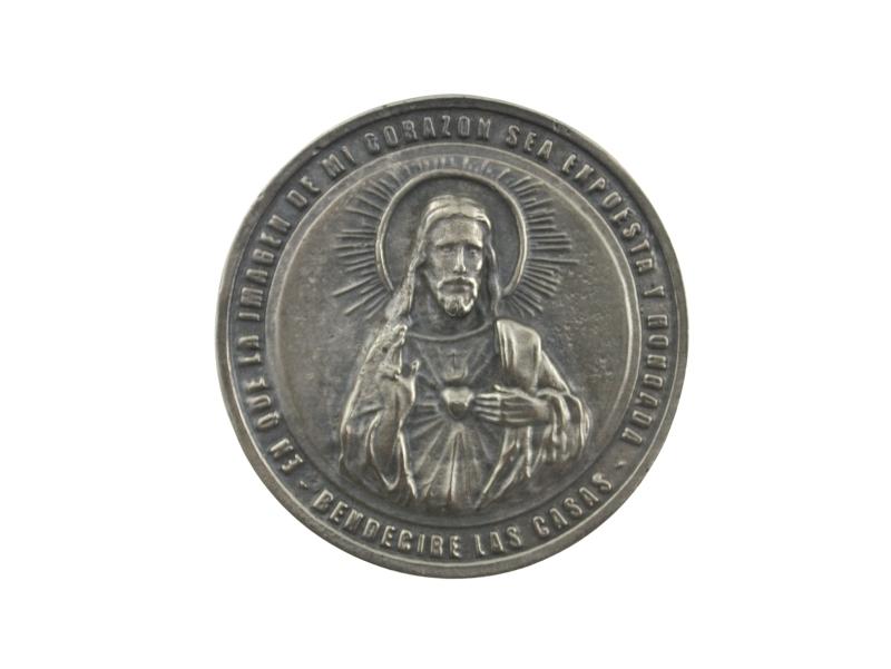 Medallon Fundicion Sagrado Corazon de Jesus 6cm - frente