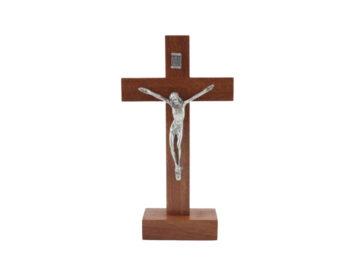 Crucifijo con base - Madera - con Cristo de metal - 20cm - frente