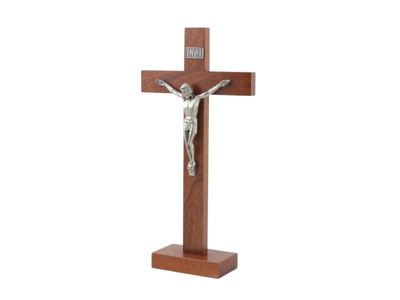 Crucifijo con base - Madera - con Cristo de metal - 33cm - costado
