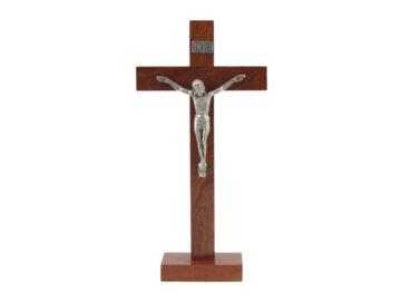 Crucifijo con base - Madera - con Cristo de metal - 33cm - frente