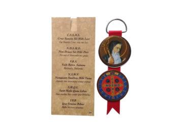 Medallon doble - Madera MDF con cinta para colgar - San Benito - oracion