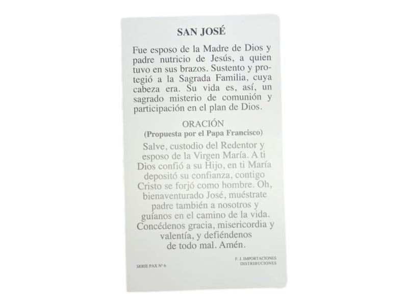 Estampa santoral con oracion San JOSE - oracion